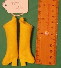 Bright Yellow Felt Boots with Yellow Heels & Soles for Regular Barbie Doll Bt23