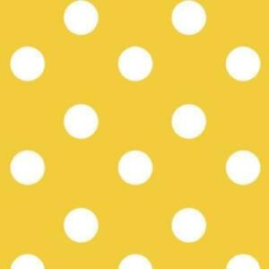 Polka Dot Yellow and White Wipeclean PVC Vinyl Oilcloth Tablecloth Many Sizes
