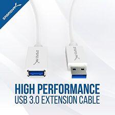 Sabrent 22AWG USB 3.0 Cable de extensión-A-Macho a Hembra-a [Blanco] 10 Pies (CB-3