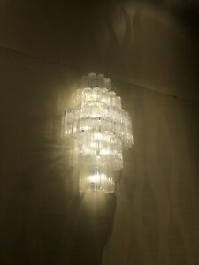 XL Vintage Murano Glass Wall Sconce Tronchi (several available) chrome 60s 70s