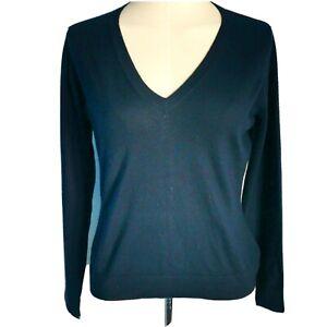Pure Collection Women's Ladies Jumper Blue Size UK 12 100% Pure Cashmere V-Neck