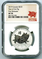 2019 $10 CANADA SILVER 10 DOLLAR YEAR OF THE PIG NGC SP70 FIRST RELEASES