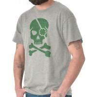 Clover Jolly Roger Pirate Funny St Patricks Adult Short Sleeve Crewneck Tee