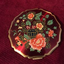 SHAKLEE ENGLISH FLORAL COMPACT WITH MIRROR SCALLOPED EDGE