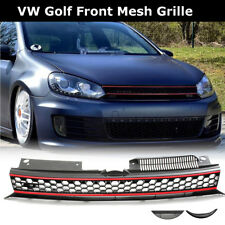 For VW Golf 6 MK6 GTI 2010-14 Front High Bar Black Red Trim Upper Mesh Grille US