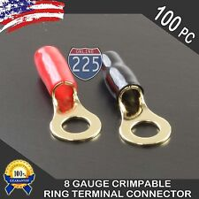 "8 Gauge Gold Ring Terminal 100pc Pack Wire Crimp Cable Red Black Boots 3/8"" Stud"