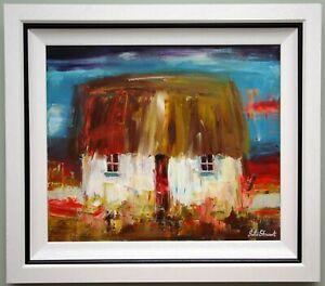 Original Irish Art Abstract Painting TRADITIONAL IRISH THATCHED COTTAGE, IRELAND