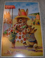 Medici Society - At the Seaside Dressed Rabbits Postcard by Racey Helps