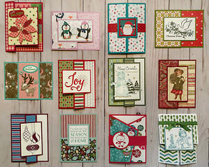 12 Handmade Unique Fun Fold Christmas greeting cards & envelopes Stampin' Up!