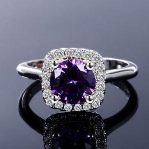 Fashion 925 Silver Round Amethyst Sandstone Princess Diamond Wedding Rings Gifts