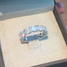 2.6 Ct Round Cut Diamond Eternity Band Style 14k White Gold Over Engagement Ring