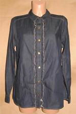 Jones New York Women's Size M 100% Cotton Denim Ruffled Front LS Knit Top Shirt