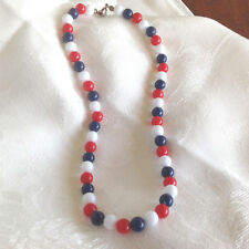 "Red White Blue Patriotic necklace Chocker 16 1/4 "" Vintage plastic"