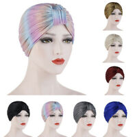 Muslim Arab Women Hat Indian Beanie Turban Pleated Chemo Hair Loss Cap Headwear