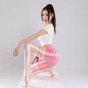 Women Sexy Oil Shiny Sports Pantyhose Striped Opaque Yoga Gym Tights Dancewear