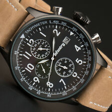 Infantry Mens Quartz Wrist Watch Luminous Date Chrono Sport Army Brown Leather Black