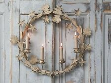 Huge Candle WREATH Metal Antiqued French Styled 55cm Diameter -