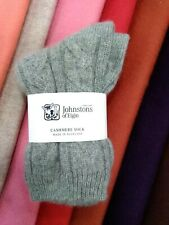 100% Cashmere Cable Socks | Johnstons of Elgin | Made in Scotland | Grey | Warm