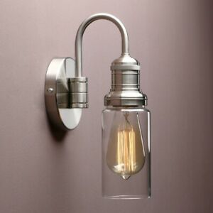 Vintage Industrial Wall Sconce Clear Cylinder Lamp Shade Light Fixture Brushed
