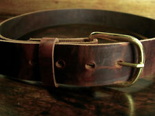 """New Smooth Brown Waxed Leather Casual Belt Brass Buckle Fits 31-32"""" Made in USA"""