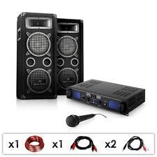 DISCO DJ PA SYSTEM 1600W COMPLETE PRO AUDIO SET 2U AMPLIFIER 3-WAY SPEAKERS MIC