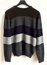 PAUL & SHARK Pullover XXL 2XL Grau Grün Streifen Strick Schurwolle Seide UVP€280
