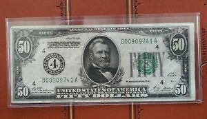 """1928 $50 """"GOLD DEMAND"""" FEDERAL RESERVE NOTE Cleveland, OH"""