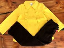 "Gymboree Girls Yellow Ruffle Peacoat w/ Brown ""Sweet Treats"" Pants 7/8 NWT GYM9"