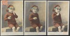French Fantasy Set of 3 - Boy Smoking a Pipe 'Les Essais De Bebe' c1906 170515