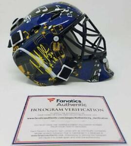 """MARTIN BRODEUR Autographed """"HOF 18"""" St. Louis Blues Mini Goalie Mask FANATICS"""