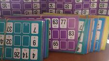 8 cartones aleatorios sueltos para jugar al bingo diferentes colores