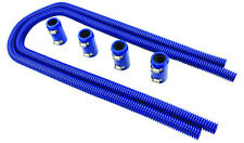 "44"" Blue Stainless Flexible Heater Hose Kit W/ Billet Clamp Covers SBC BBC SBF"