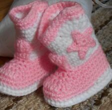 Custom Handmade Crochet Baby Pink & White Cowboy Cowgirl Boots Baby Booties