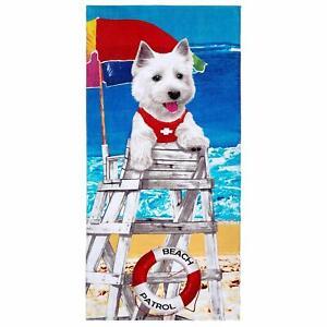 "30"" x 60"" Dog On Duty  Beach Towel 100% Cotton"