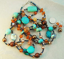 """Turquoise Amber Pearl Crystal Necklace 38"""" & Pierced Earrings Beads LAST ONE"""