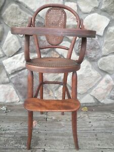 Vintage Primitive Wooden Bentwood High Chair Cane Seat Rattan Baby Doll