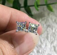 2.50 Ct Princess Cut Solitaire Studs Earrings Solid 14k White Gold Push Back