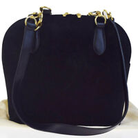 Authentic BALLY Logos Shoulder Bag Suede Skin Leather Black Gold Italy 07EB993