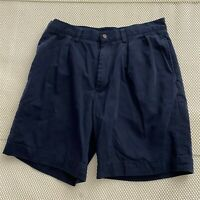 "Polo Ralph Lauren 32 x 8.25"" Navy Pleated 100% Cotton Twill Chino Shorts"