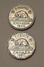1940 Canada 5 Cents Coin and 1950 Canada 5 Cents Coins - King George VI