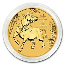 NEW~ 2021 ~ 1/20th~OZ PURE .9999 GOLD ~ YEAR of the OX ~ PERTH MINT GEM ~$178.88