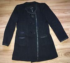 ISABEL MARANT Women's Black Wool Coat Jacket Black Leather Trim Size 2 UK 10