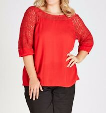 Plus Size Autograph Ladies Poppy Red Lace Neckline Embroidery Sleeve Size 18
