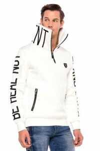 Cipo & Baxx CREST Mens Sweatshirt Pullover White CL368 All Sizes