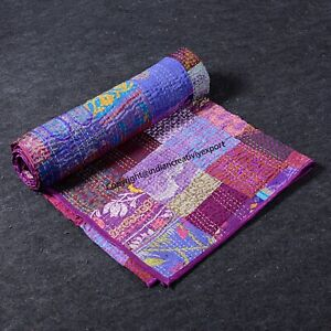 Silk Patchwork Kantha Quilt Bohemian Patola Bedspread Purple Gudari Indian Throw