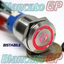 Interruttore 19mm in acciaio INOX simbolo ON LED ROSSO 12V deviatore bistabile