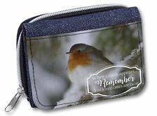 Little Robin Red Breast Girls/Ladies Denim Purse Wallet Christmas Gif, Robin-1JW