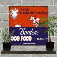 "Borden's Dog Food Elsie Garage Man Cave Shop Metal Sign 12x12"" 60753"