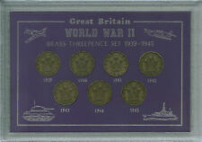 La SECONDA GUERRA MONDIALE ANNI threepences della seconda guerra mondiale II 1939-45 Soldini Coin Set Regalo