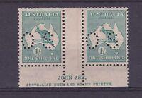 DB503) Australia 1920 1/- Bright Blue Green 1/- Kangaroo Die IIB